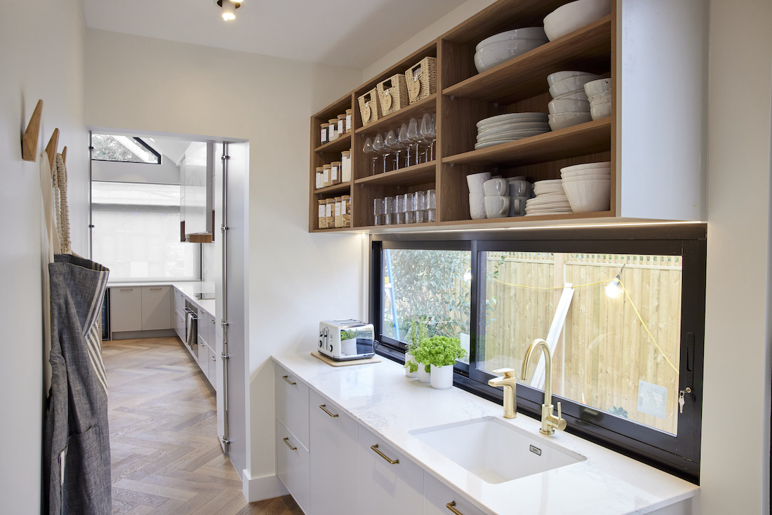 Butlers pantry with open timber shelves