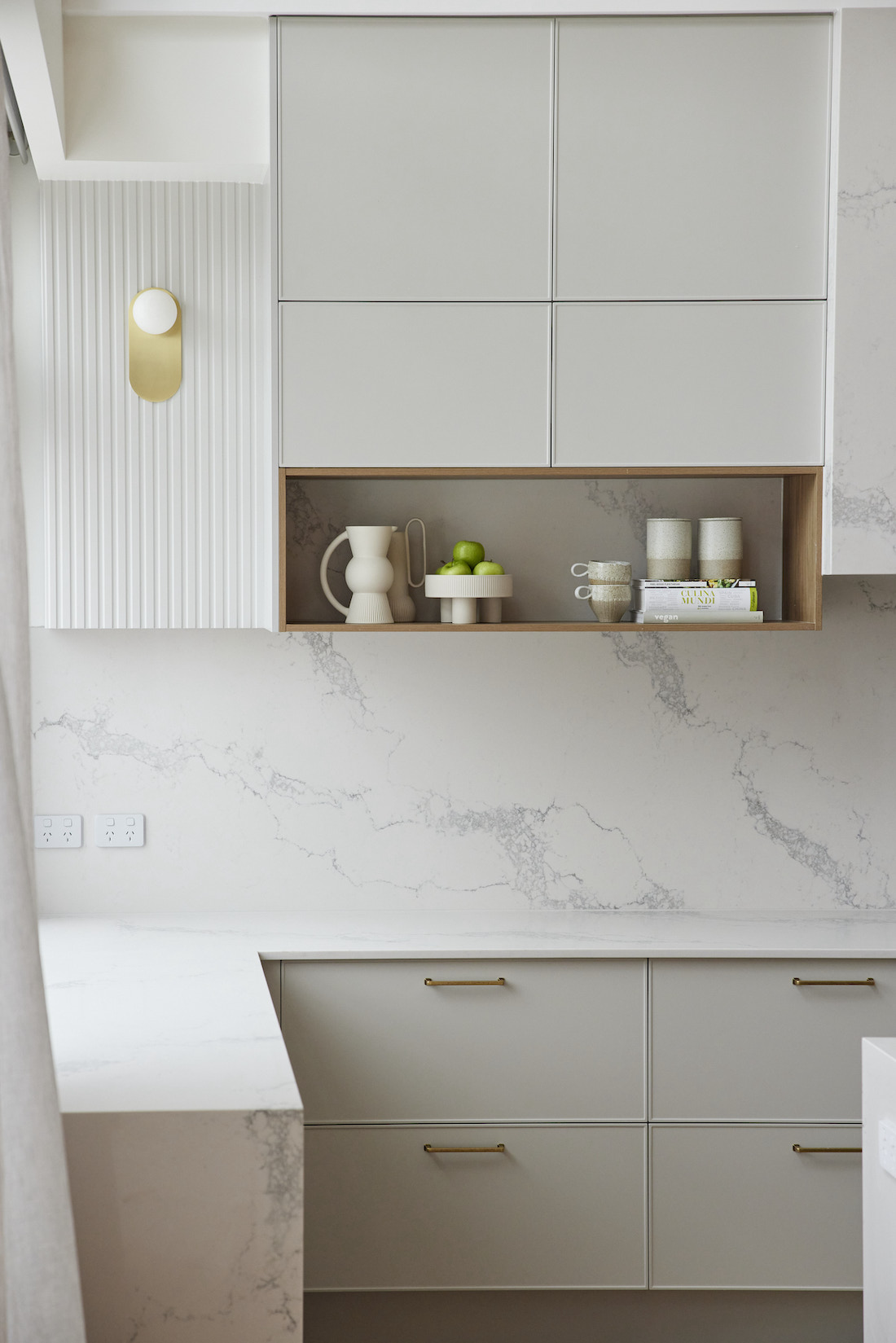 Timber open shelves for kitchen styling