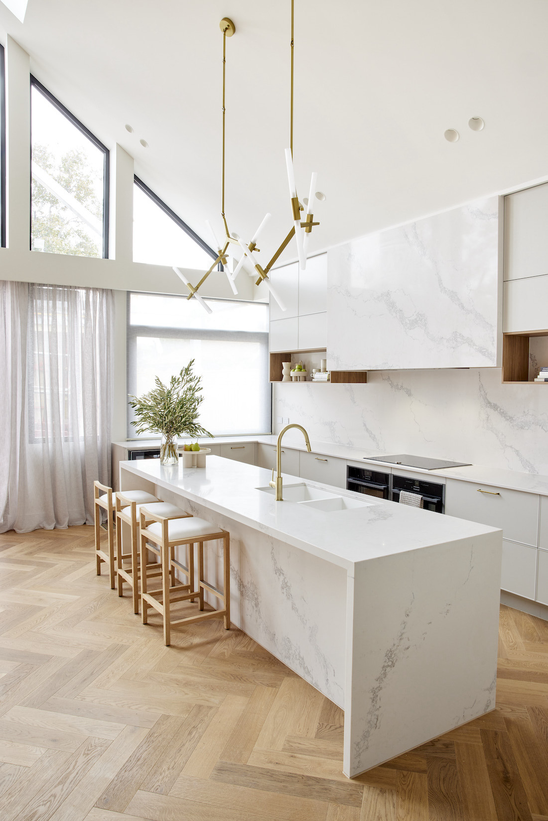 Pitched roof in white stone ceiling