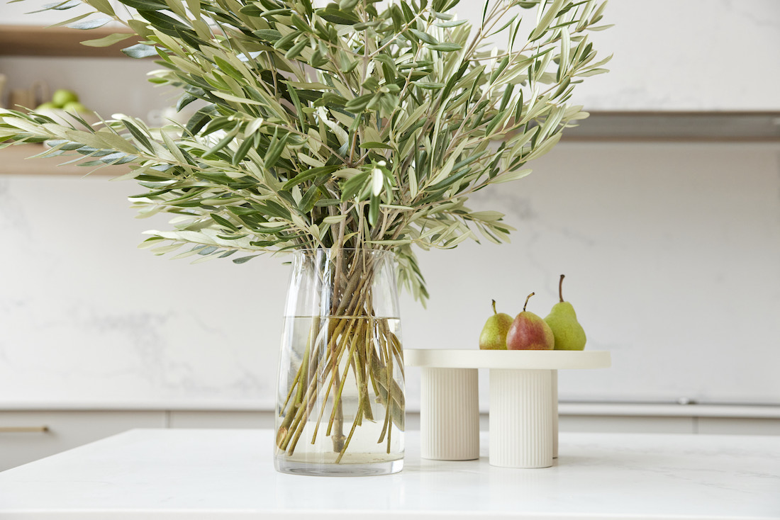 Olive branches and kitchen bench styling