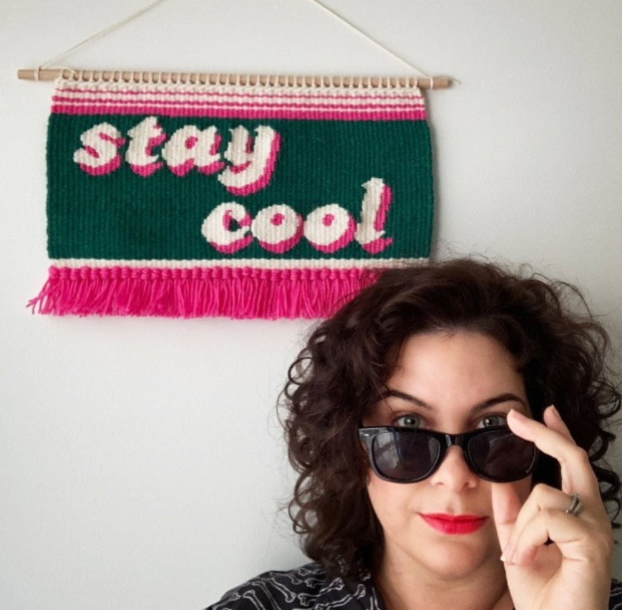 Olive and the Boy_stay cool Kristen_graphic handwoven tapestries