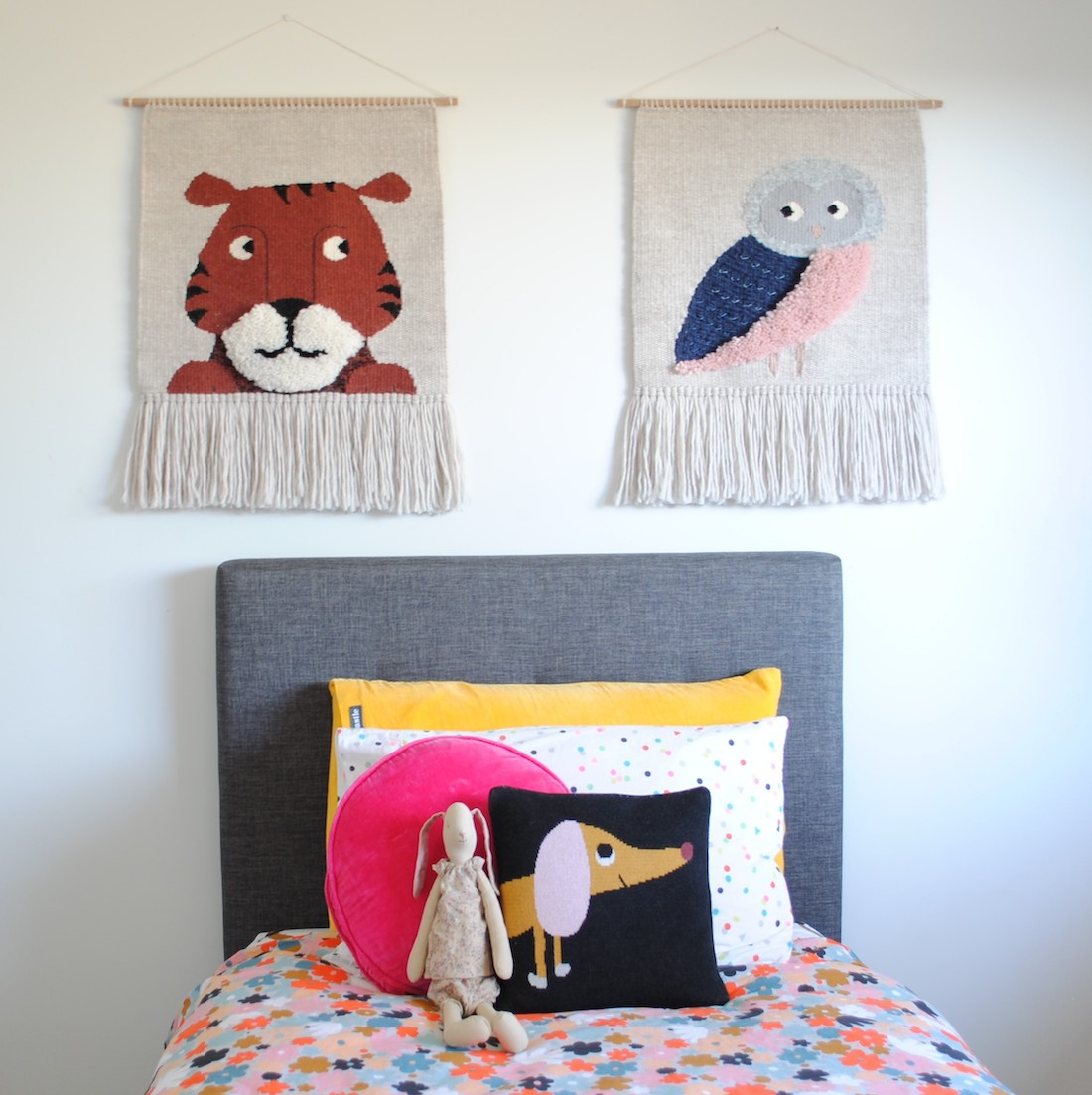 Olive and the Boy_animal tapestries_graphic handwoven tapestries