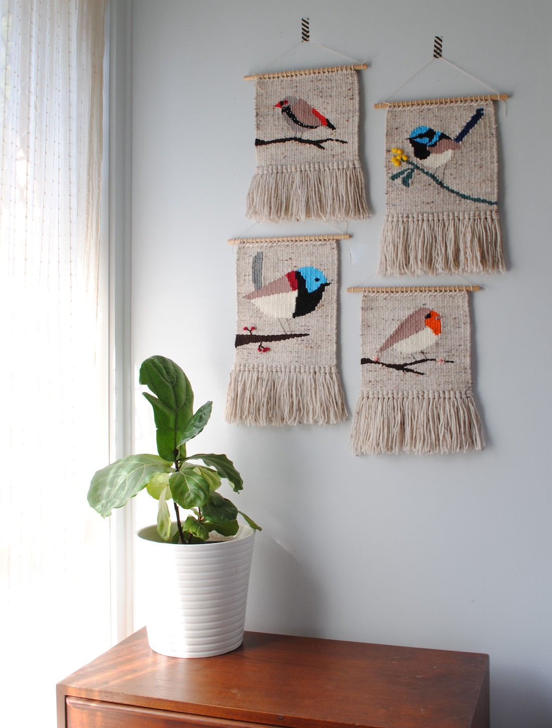 Olive and the Boy_bird tapestries_graphic handwoven tapestries