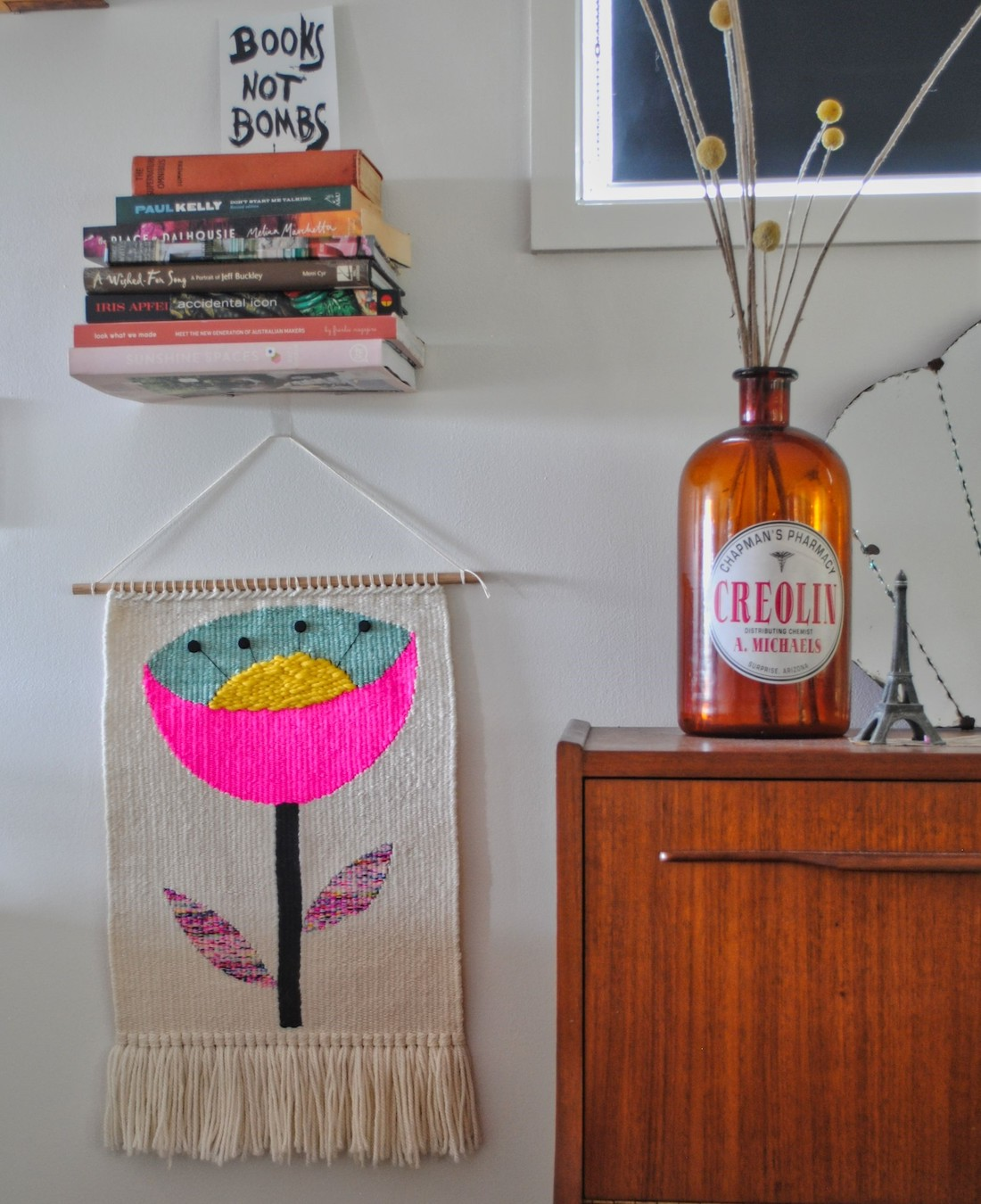 Olive and the Boy_fluro pinks_graphic handwoven tapestries