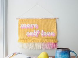 Olive and the Boy_self love_graphic handwoven tapestries