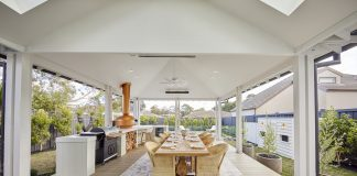 Outdoor covered dining space