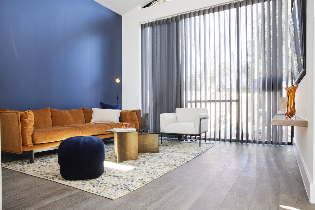 Living room with blue feature wall