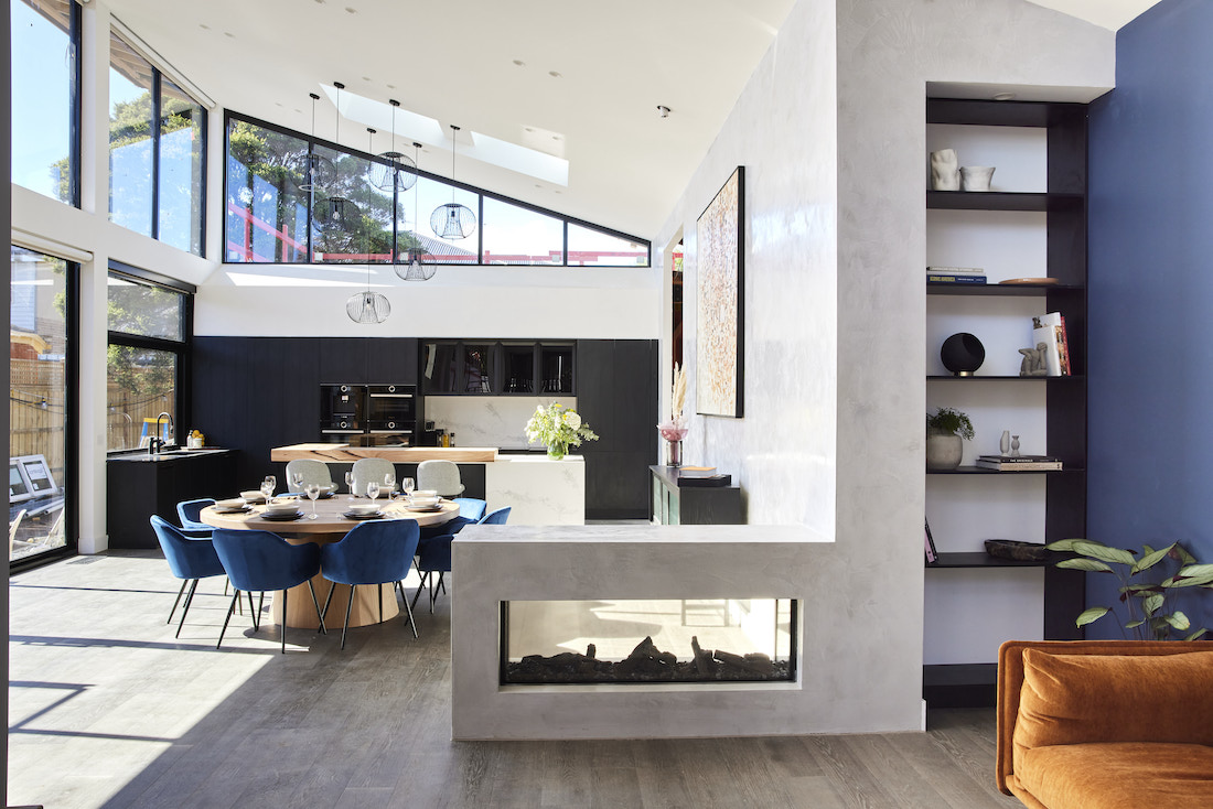 Fireplace through to dining and kitchen