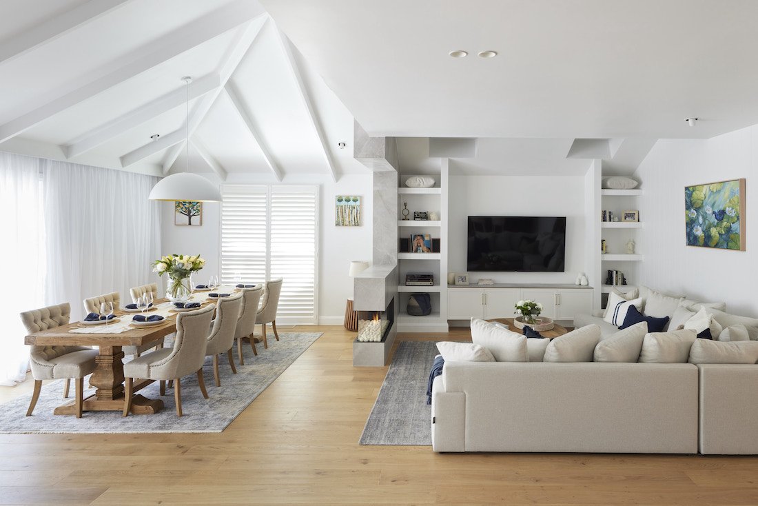 Dining and living rooms with neutral colour palette