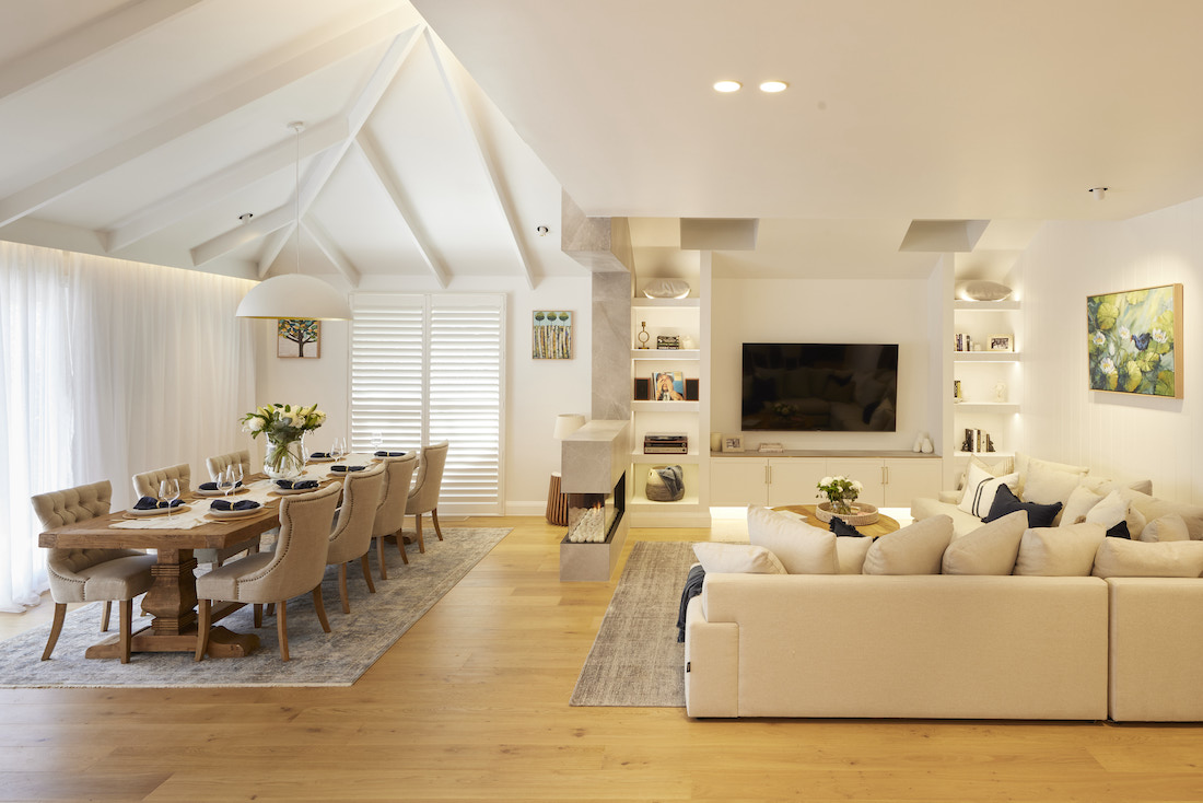 Living and dining room in neutral colour palette