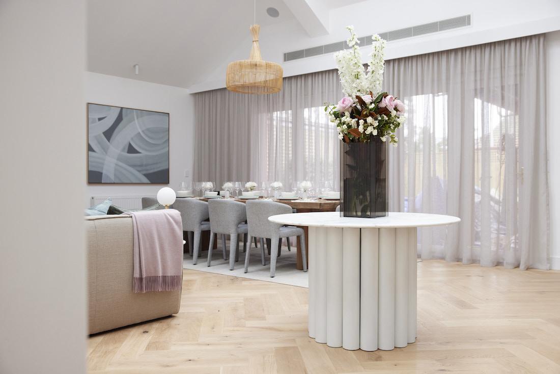 Hallway table with pillar centrepiece