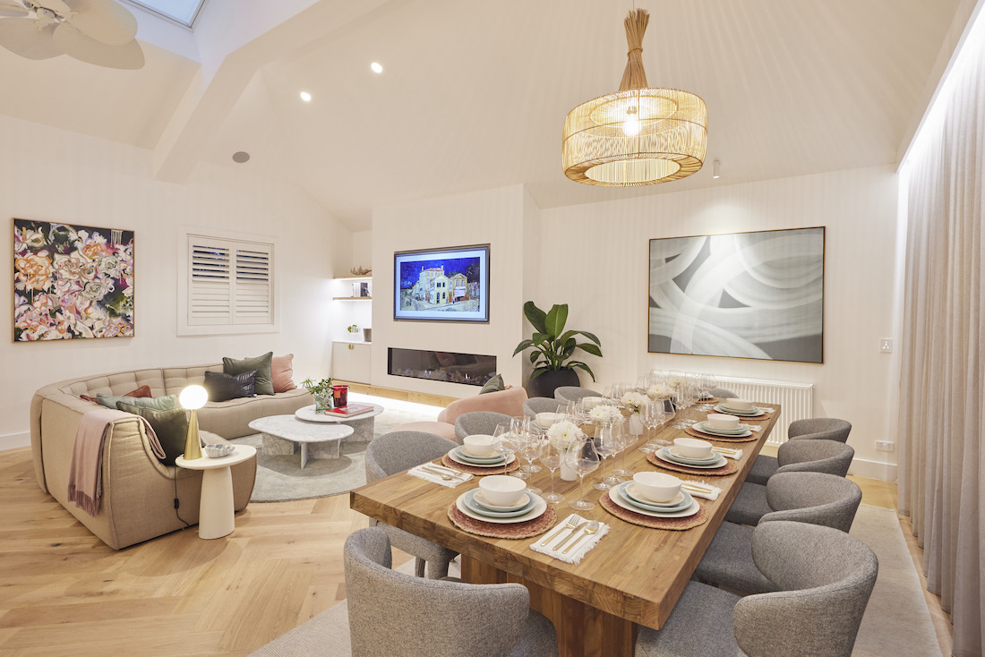 Dining room with basket pendant light