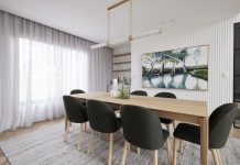 Dining room with olive green chairs