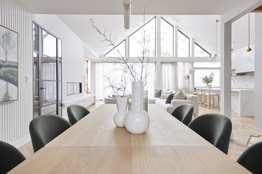 View from dining table to pitched roof windows