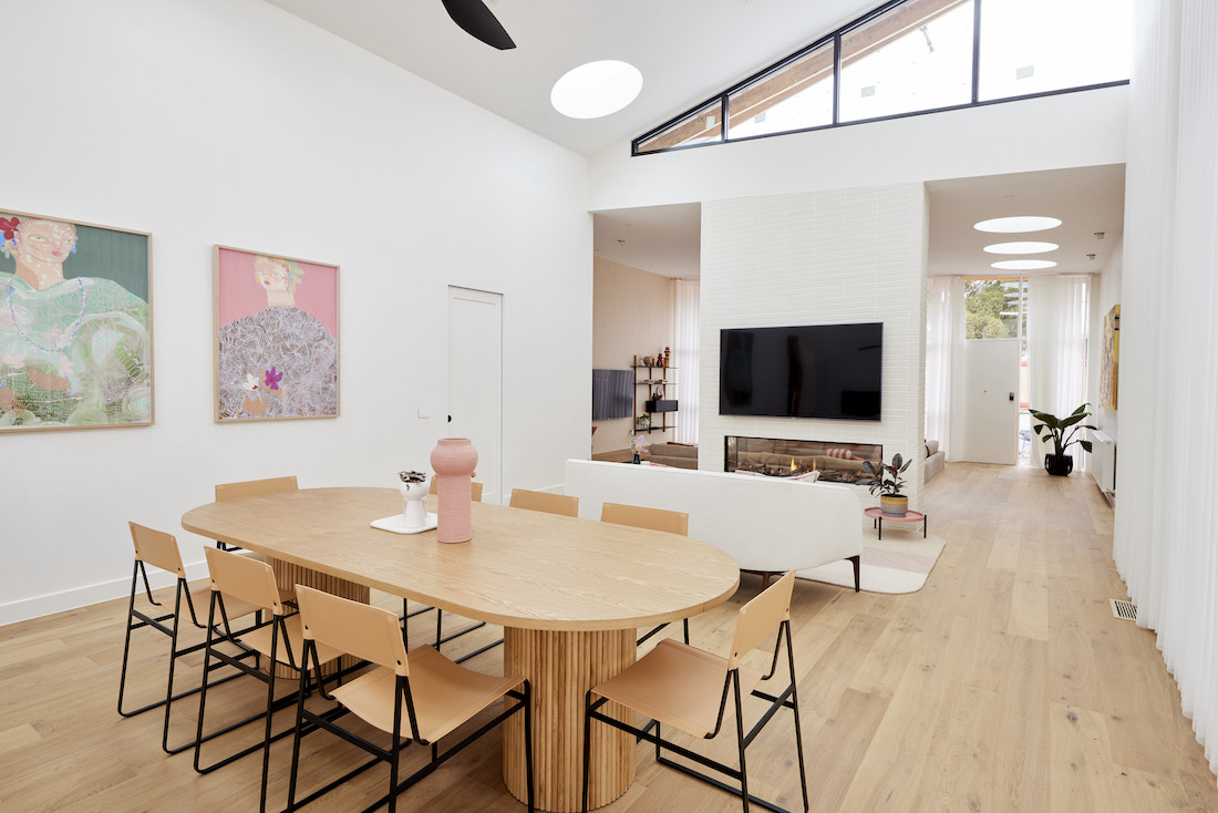 Pill shaped dining table in dining room