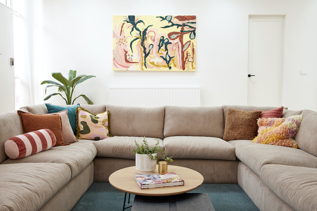 Sunken lounge with tropical artwork