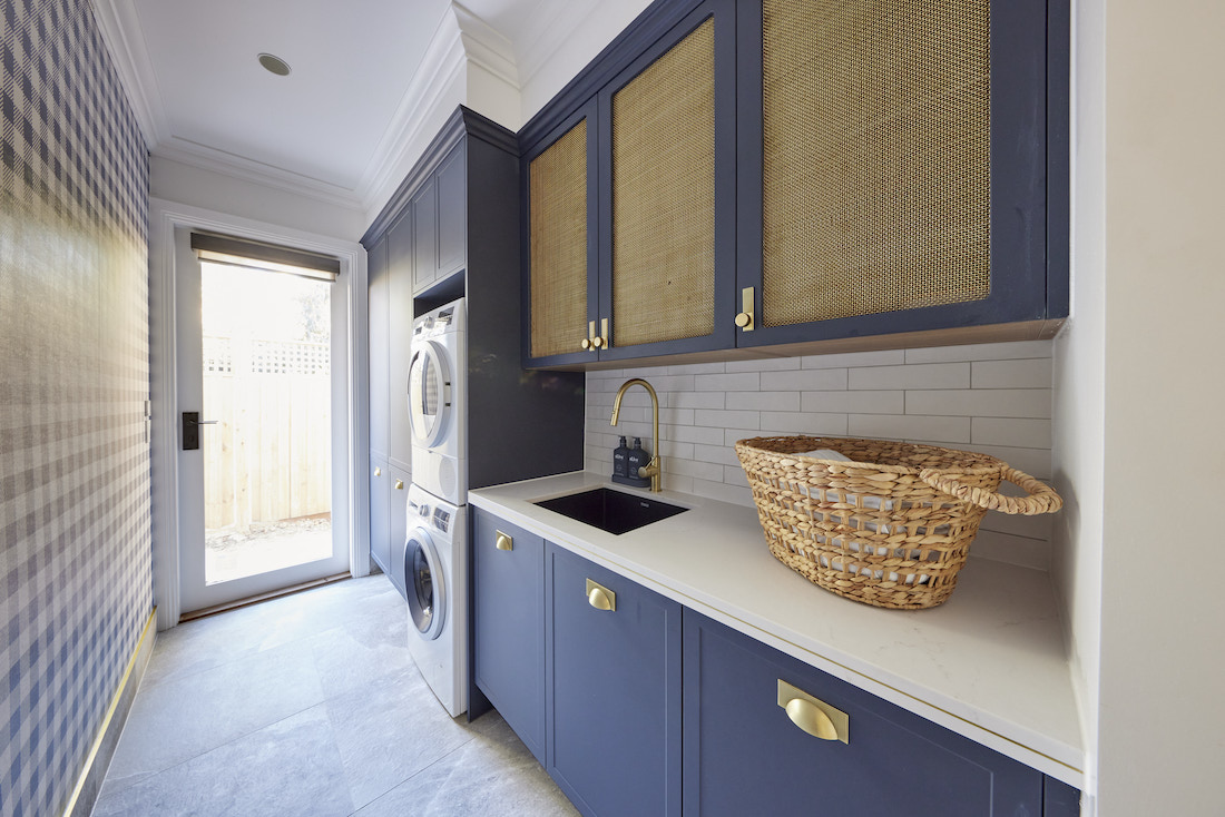 Navy and brass laundry