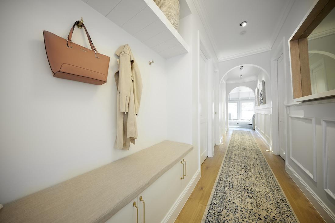 Built-in bench seat in hallway