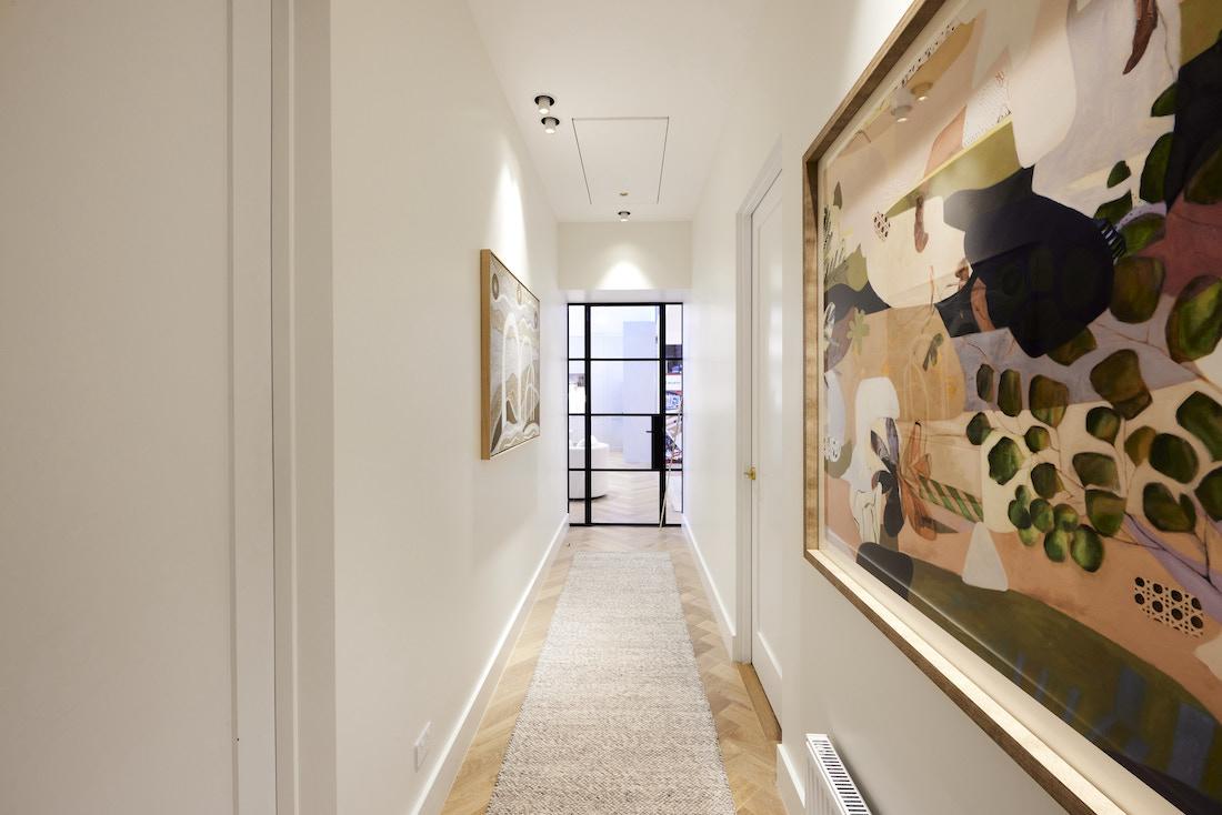 Hallway with black steel glass door