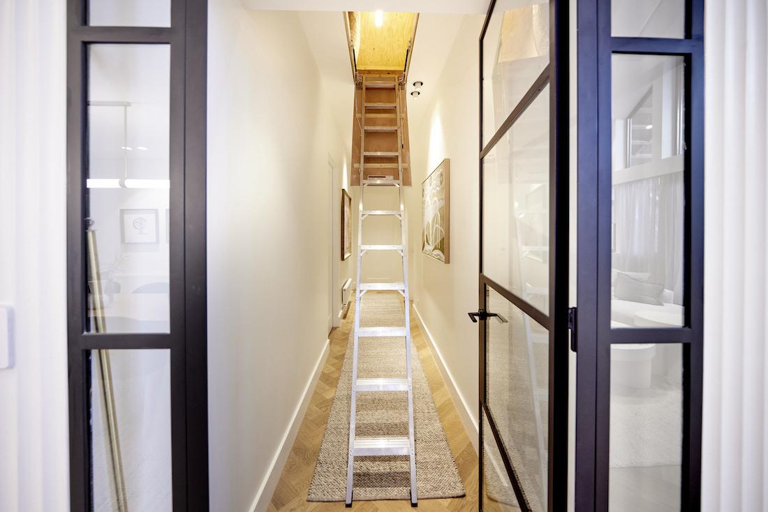 Black steel glass door and ladder to attic