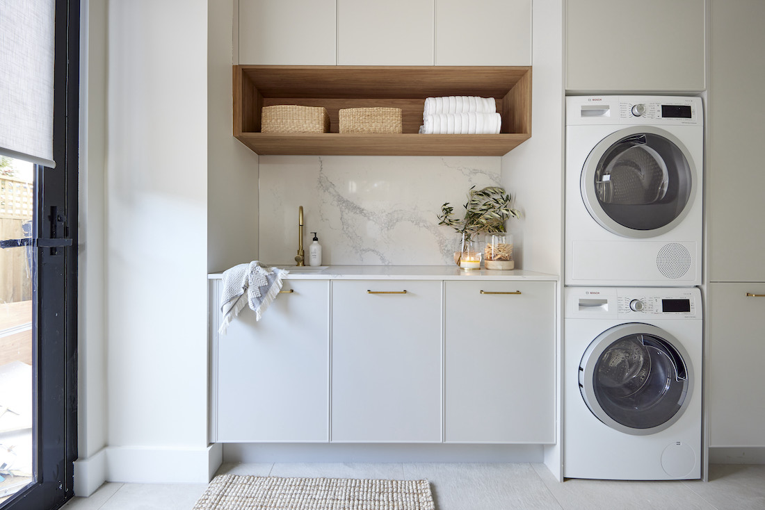 Laundry with timber shelf