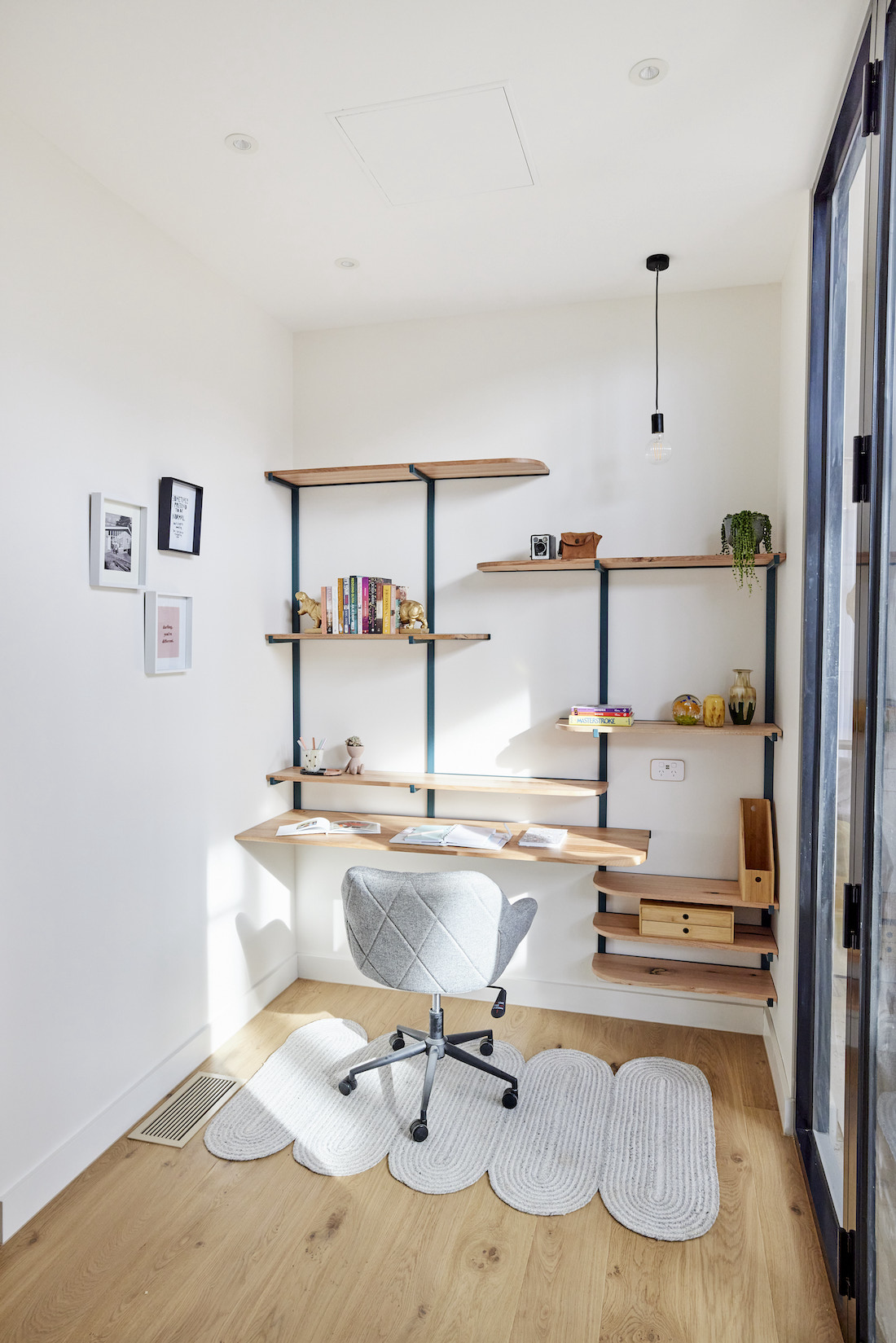 Abstract shelf in study nook